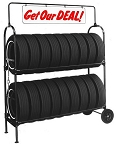Two-Tier Tire Rack, with Swinging Sign & Lock Kit