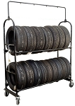 Two-Tier Tire Rack, 4 Casters with Lock Kit (NO SIGN)
