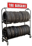 Two-Tier Tire Rack, 4 Casters & Stand Up Sign
