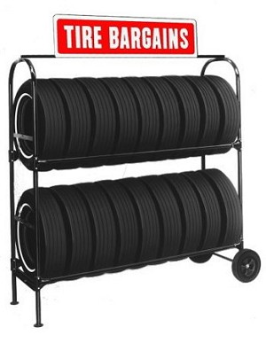 Two-Tier Tire Rack, with Stand Up Sign