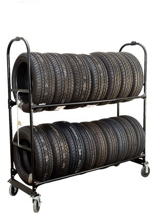 Two-Tier Tire Rack, 4 Casters & Lock Kit (NO SIGN)