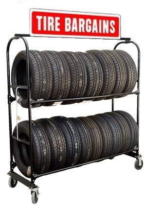 Two-Tier Tire Rack, 4 Casters & Stand Up Sign & Lock Kit