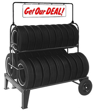 Three Tier Tire Rack with Swinging Sign & Lock Kit