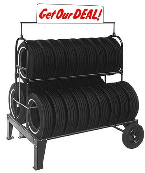 Three Tier Tire Rack with Lock Kit and Stand Up Sign